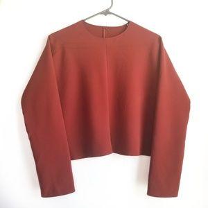Zara Woman Bozy Cropped Long Sleeve Blouse Rust